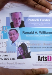 Green Readings 2013 Part One featured actor Patrick Foster, suspense novelist Ronald A. Williams, and writer Shakirah Bourne.