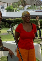 Shakirah and MC Jewel Forde (right) during the lively Q&A session that followed Shakirah's tale of the unexpected.