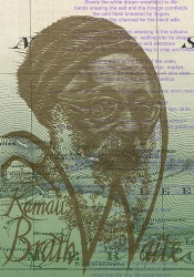 "ANTONIO MARTORELL, Las Antillas Letradas, 2013, mural, 4' 4"" x 9'; woodcut and digital impression on papel (30 prints). Mural features 28 portraits layered over text and maps to create an A-Z of writers from the Antilles. Detail shows Kamau Brathwaite section of mural."