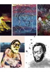 LAMAIR NASH, Kamau 1-5, 2015, graphic illustrations