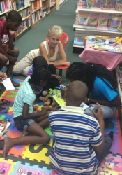 Auntie Sarah (Venable) joins DJ and the children at Days. The programme is sponsored by Oxford University Press.